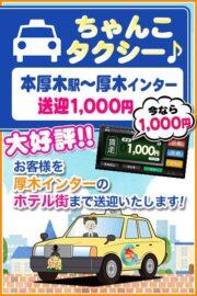 ちゃんこタクシー本厚木駅~厚木インターホテル送迎往復1000円